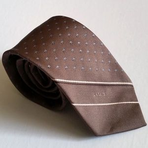 Lanvin Paris Brown Silk Tie